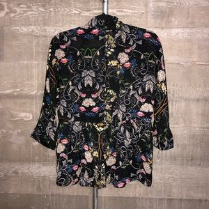 Lucca Floral High-Neck Sheer Top